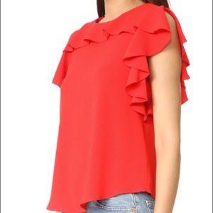 Amanda Uprichard Candy Apple Red blouse - small